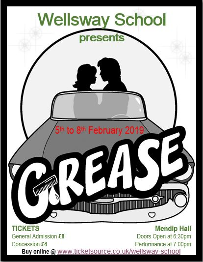 Grease production poster, Wellsway School